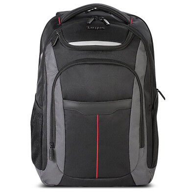 Targus Gravity 15.6 Laptop Backpack, Black/Gray with Red Stripe
