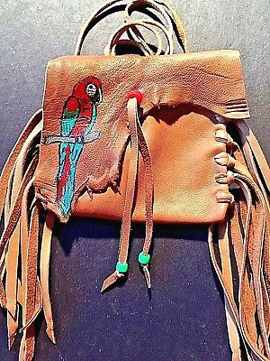 Parrot Handpainted Lambskin Mecicine bag, with fringe and Pony beads.