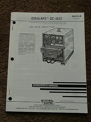 Lincoln Idealarc DC 400 Welder Power Source Operators Manual 9847 & Up Schematic