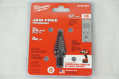 Milwaukee 48-89-9203 Step Drill Bit #3 9 Hole Sizes Jam-Free Made In USA New