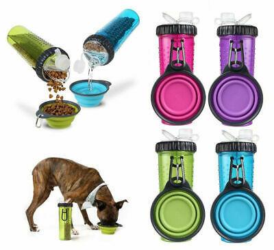 H-DuO Dual Snack - Water / Food Bottle w/Collapsible Dog Travel Bowl