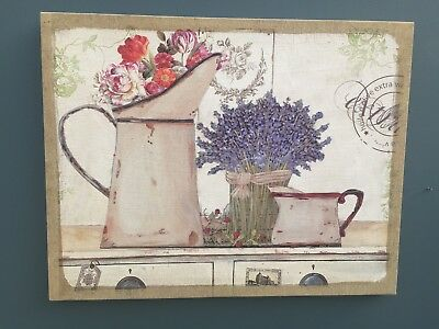 French Country Style Lavender Shabby Vintage Chic Canvas Wall Art Print