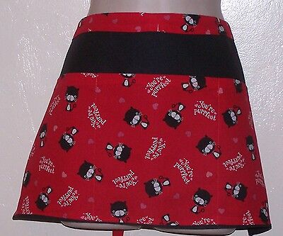 Black apron Your perfect kitty waitress server waiter waist apron with 3 pockets