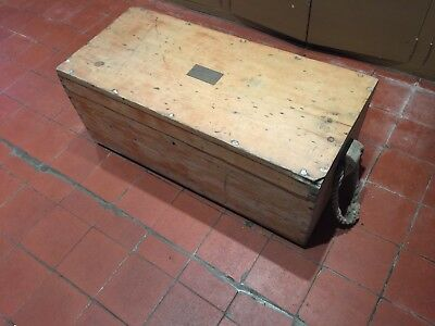 Old antique Pine Chest shipwrights trunk with inlaid brass name plate.