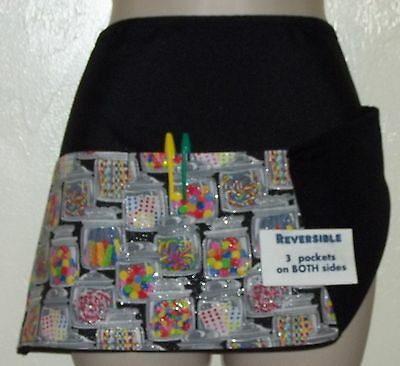 Black reversible JARS OF CANDY waitress server waist apron 3 pockets