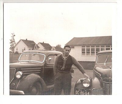 Vintage photo Classic Automobile 1936 Ford, 1940 Chevy convertable, Mi. plates