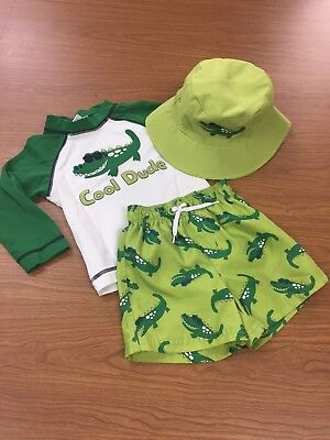 Gymboree Boys Alligator Swim Set 3 pc Fits 12-18 mos Top Shorts Hat