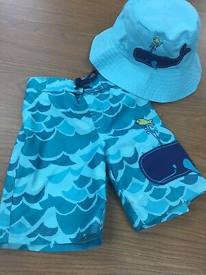 Gymboree 2T Blue Toddler Boys Whale Swim Trunks Bottoms Shorts Hat Summer Beach