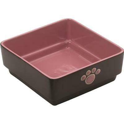 Ethical Stoneware Dish Four Square Dog Dish 7 Inch Pink