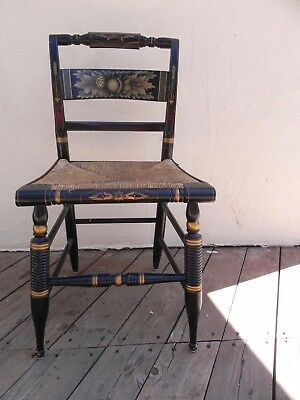 Signed L. Hitchcock Slat Back Rush Seat Chair Ebonized with Gold Stencil