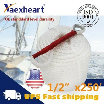 """1//2/""""x250/' Twisted Three Strand Boat Anchor//Mooring Rope//Line High Quality USA"""
