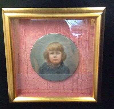 Antique Hand Painted Framed Round Signed Portrait~  Kpm ~ Young Girl