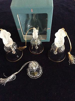 Lenox Frosted Crystal Bells - Lot Of 3 - 1992 Snowman & 1994 Candlesticks