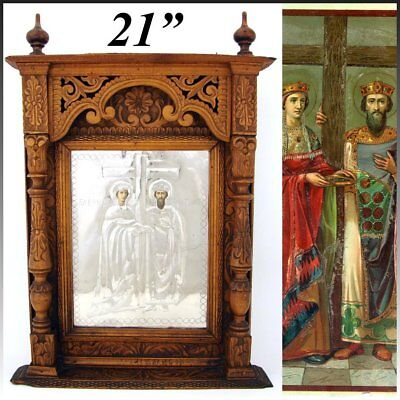 """Antique Russian Hand Carved 21"""" Cabinet Style Icon Frame, Silver Foil Lithograph"""