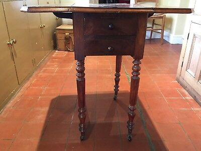 Antique quality 19th Century mahogany two drawer drop leaf  table