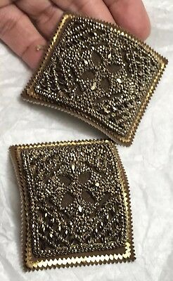 Estate Antique French Gilded Cut Steel Large Fancy Shoe Buckle Pair France