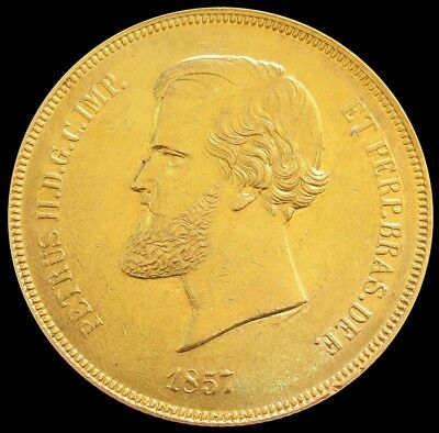 1857 Gold Brazil 20,000 Reis Pedro Ii Coin About Uncirculated Condition