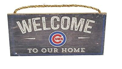 Chicago Cubs Man Cave Wooden Sign Welcome Our Home Made Usa Mlb Baseball