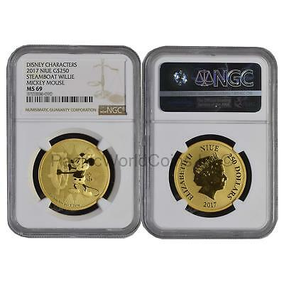 Niue 2017 Disney Characters Steamboat Willie Mickey Mouse $250 1oz Gold NGC MS69