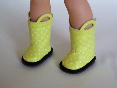 "Yellow Polka Dot Rain Boots Fits Wellie Wishers 14.5"" American Girl Clothes"