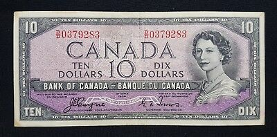 1954 Canada $10 Bank note - Devil's Face - See Photos - N-246