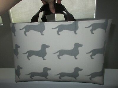 Dachshund Sausage Wiener Dog Large Canvas Tan Gray Tote Totebag Purse NEW