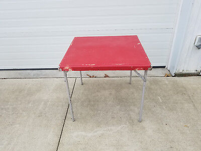 vintage folding card table with metal corners 1950s