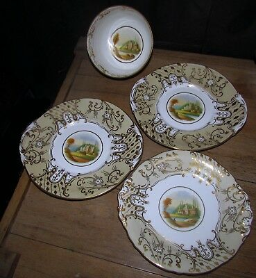 3 early 1800's coalport plates 1 bowl & 7 demitasse cups scenic gold decoration