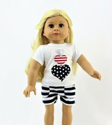 """Red White Blue Heart Flag Short Set Fits 18"""" American Girl Doll Clothes"""