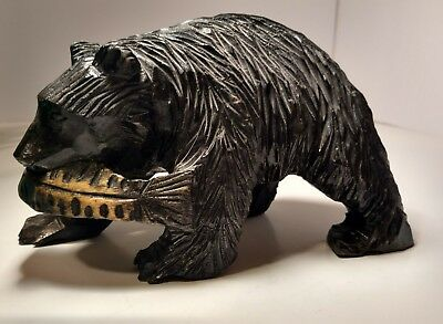 Vintage Hand Carved Wood Grizzly Bear With Salmon Fish In Mouth