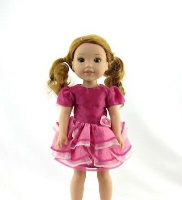 """Pink Layered Dress Fits Wellie Wishers 14.5"""" American Girl Clothes"""