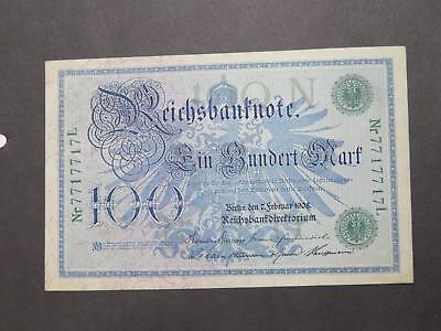 Germany Imperial 1908 100 Mark Fancy Serial # Banknote Currency Collection Lot
