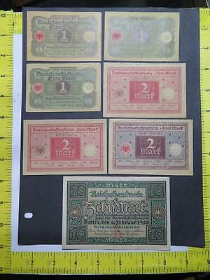 Germany Weimar Treasury 1920 1 2 10 Mark World Banknote Currency Collection Lot
