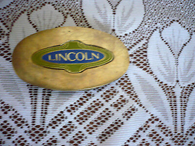 Vintage Lincoln Auto Belt Buckle, Solid Brass, Used