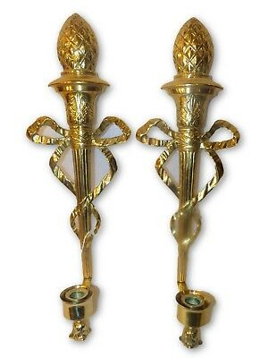 Pr Vintage French Empire Brass Wall Sconces Torchiere Torch Bow Candle Holder