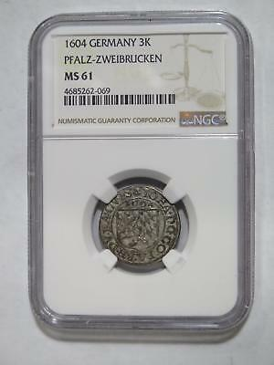 Germany Pfalz Zweibrucken 1604 3 Kreuzer Ngc Ms61 World Old Coin Collection Lot