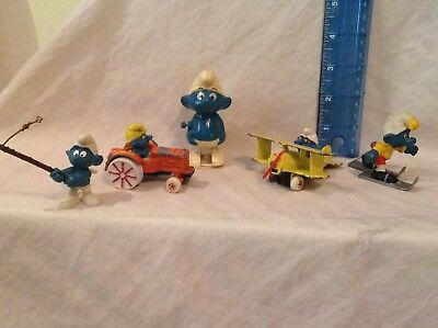 Vintage 1980's Lot Of 5 Different Smurf Figures Peyo Ertl