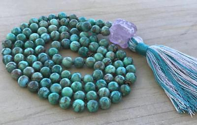 8mm African Turquoise Natural gemstones Mala knotted Necklace Buddhist Prayer
