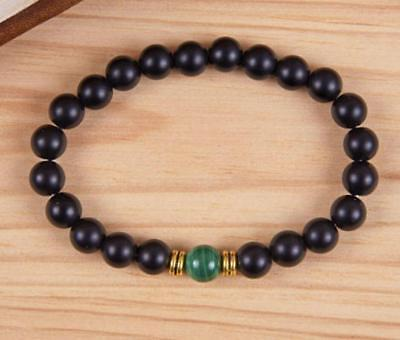 Mens Black Onyx 8 mm mala lucky bracelet beads men pray buddhist yoga meditation