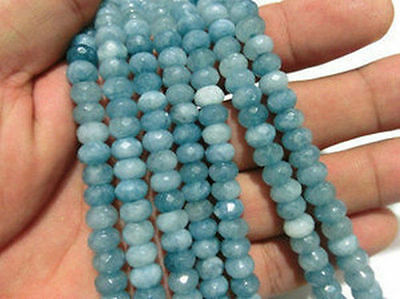 5x8mm Brazilian Aquamarine Gemstone Faceted Abacus Loose Beads 15''AAA+H