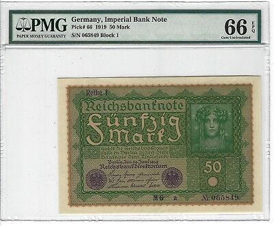 P-66 1919 50 Mark, Germany, Imperial Bank Note,  PMG 66EPQ GEM +