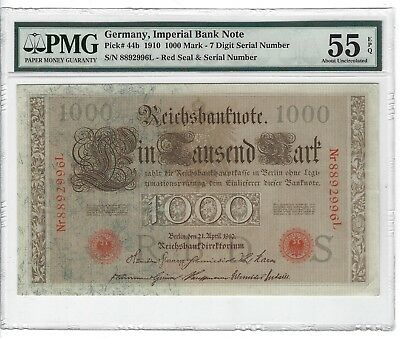 P-44b 1910 1000 Mark Germany Imperial Bank Note  PMG 55EPQ