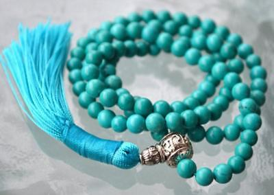 6mm Turquoise Natural gemstones Mala knotted Necklace Buddhist Prayer Beads