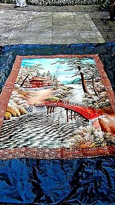 "ANTIQUE 18c JAPANESE SILK EMBROIDERY LARGE PICTURAL W/ MT.FUJI PANEL 79""x 55"""