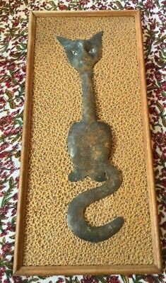 Vintage Retro 70s Rustic Beaten Copper Wood Frame Cat Pussy Wall Art
