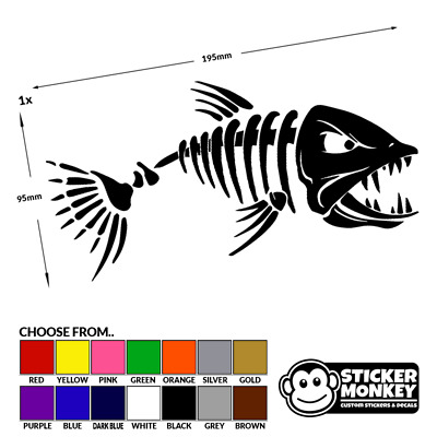 Angry Fish Sticker  Fishing Bait Boat Hobbies Car Window Sticker Decal