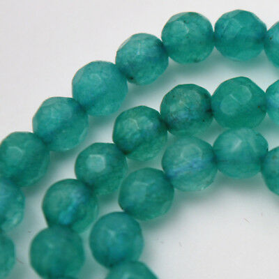 "4mm Natural Faceted Blue Aquamarine Round Gemstone Loose Beads 15"" AAA+"