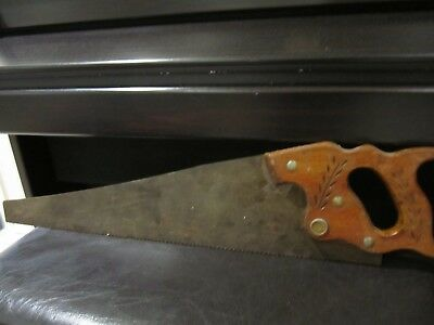 Carved Handle Vintage Disston Hand Saw
