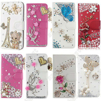 Luxury Bling Diamond Flip Leather Wallet Stand Fit Case Cover For Samsung Galaxy