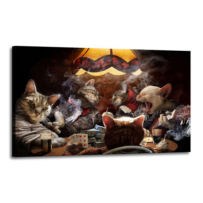 Oil Painting Art Print on Canvas Cats Playing Poker Home Decor 16x24 Unframed